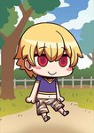 1boy april_fools blonde_hair blue_sky blush_stickers camouflage camouflage_shorts chibi child child_gilgamesh cloud fate/grand_order fate_(series) looking_at_viewer male_focus midriff navel no_nose official_art purple_shirt red_eyes riyo_(lyomsnpmp) shirt short_sleeves shorts sky smile solo star tree younger
