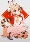 1girl absurdres adapted_costume alternate_hairstyle animal_ears bare_arms bare_legs blonde_hair blush china_dress chinese_clothes commentary double_bun dress dress_shoes extra_ears eyebrows_visible_through_hair highres kemono_friends multicolored_hair omucchan_(omutyuan) serval_(kemono_friends) serval_ears serval_print serval_tail short_hair short_sleeves solo squatting tail thighs