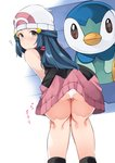 1girl ? absurdres ass bare_shoulders beanie bent_over blue_eyes blue_hair blush closed_mouth clueless commentary_request eye_reflection from_behind hat highres hikari_(pokemon) kneepits kurutsuki legs long_hair looking_at_viewer looking_back miniskirt panties pantyshot piplup pokemon pokemon_(creature) pokemon_(game) pokemon_dppt red_scarf reflection scarf shirt skirt sleeveless sleeveless_shirt solo_focus text_focus translated underwear upskirt white_panties