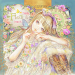 1girl album_cover bad_id bad_pixiv_id bird blonde_hair boots bow brown_boots butterfly butterfly_on_hand cover cross-laced_footwear dress flower frilled_dress frills great_tit hair_bow head_tilt lace original pansy sitting solo swallow violet_(flower) white_dress yogisya
