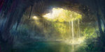 bird cave lake nature no_humans original park_jae-cheol scenery stalactite tree underground water waterfall