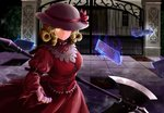1girl ascot aura blonde_hair commentary_request dress drill_hair elly floating floating_object gate ground hat highres holding kamiya_ueshi long_sleeves looking_at_viewer mansion mugenkan outdoors puffy_sleeves red_dress ribbon scythe short_hair smile solo tile_floor tiles torn_clothes touhou touhou_(pc-98) twin_drills weapon yellow_eyes