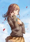 1girl blue_sky brown_eyes brown_hair brown_sweater day floating_hair frilled_skirt frills from_side fujimiya_kaori holding holding_notebook holding_pencil isshuukan_friends long_hair miniskirt notebook outdoors pencil petals shuang_ye skirt sky solo standing sweater wind yellow_skirt