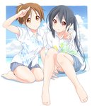 2girls animal_print beach black_hair blue_skirt breasts brown_eyes brown_hair casual closed_mouth cloud collarbone day dresstrip eyebrows_visible_through_hair fish_print hair_between_eyes hand_up hirasawa_ui k-on! knees_together_feet_apart knees_up leaf_print long_hair looking_at_viewer multiple_girls nakano_azusa ocean outdoors outstretched_arm ponytail salute seiza shirt short_hair short_sleeves sitting skirt sky smile twintails two-finger_salute v water white_shirt