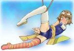 1girl bdsm blush bondage bound brown_hair goggles goggles_on_head mismatched_footwear onnaski rita_mordio short_hair solo swimsuit tales_of_(series) tales_of_vesperia thighhighs