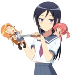 1girl aragaki_ayase blue_eyes blue_hair blue_skirt blush breast_pocket broken character_doll hands_up highres holding holding_doll holding_knife knife kousaka_kirino long_hair looking_at_viewer midiman navel necktie official_style ore_no_imouto_ga_konna_ni_kawaii_wake_ga_nai pleated_skirt pocket red_neckwear sailor_collar school_uniform serafuku shirt skirt smile solo stabbed stabbing stuffed_toy stuffing sweatdrop transparent_background white_shirt