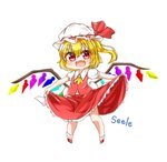 1girl :d ascot blonde_hair chibi flandre_scarlet hat long_hair looking_at_viewer mob_cap one_side_up open_mouth red_eyes seele0907 simple_background smile solo touhou white_background wings