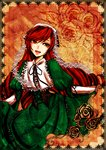 1girl brown_hair corset dollazure dress floral_background floral_print framed_image frills gothic_lolita green_dress green_eyes headpiece heterochromia holding_dress lolita_fashion long_hair open_mouth puffy_sleeves red_eyes rozen_maiden smile solo suiseiseki