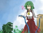 ^_^ ascot blush closed_eyes collared_shirt crossover day eyebrows_visible_through_hair facing_another godzilla godzilla:_planet_of_the_monsters godzilla_(series) godzilla_earth grass green_hair happy heart height_difference hose ibuki_(tulta_icon) kazami_yuuka long_skirt long_sleeves looking_at_another medium_hair open_clothes open_mouth open_vest outdoors plaid plaid_skirt plaid_vest red_skirt red_vest shirt skirt skirt_set smile touhou vest water white_shirt wing_collar yellow_neckwear  d