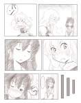 2girls ao_usagi comic greyscale hakurei_reimu kirisame_marisa monochrome multiple_girls one_eye_closed silent_comic sleeping touhou