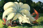 artist_name bluekomadori closed_mouth full_body grass highres multiple_tails ninetales no_humans outdoors pokemon red_eyes solo tail tree watermark web_address