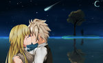 1boy 1girl ahoge bangs blonde_hair blush brown_hair closed_eyes comet commentary couple crying eyebrows_visible_through_hair face-to-face fate/apocrypha fate_(series) from_side hawaichung hetero hug jeanne_d'arc_(fate) jeanne_d'arc_(fate)_(all) kiss long_hair looking_at_another moon night night_sky ocean shirt short_hair sieg_(fate/apocrypha) sky sleeveless sleeveless_shirt star_(sky) starry_moon starry_sky tree very_long_hair waistcoat white_shirt
