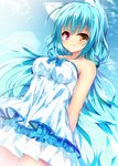 1girl :3 animal_ears arms_behind_back bangs bare_shoulders blue_hair blue_neckwear cat_ears collarbone commentary_request day dress hair_ornament heterochromia huei_nazuki light_blush long_hair looking_at_viewer orange_eyes original outdoors pink_eyes solo strapless strapless_dress very_long_hair