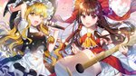 2girls :d absurdres acoustic_guitar apron arm_up ascot bangs bare_shoulders black_headwear black_skirt black_vest blonde_hair blush bow breasts brown_hair commentary cowboy_shot detached_sleeves eyebrows_visible_through_hair frilled_ascot frilled_bow frills guitar hair_between_eyes hair_bow hakurei_reimu hand_up hat hat_bow highres holding holding_instrument holding_microphone instrument kirisame_marisa long_hair long_sleeves looking_at_viewer medium_breasts meoneo microphone multiple_girls open_mouth petals pink_background plectrum red_bow red_eyes red_skirt ribbon-trimmed_sleeves ribbon_trim shirt sidelocks skirt skirt_set smile sparkle touhou vest waist_apron white_apron white_bow white_shirt wide_sleeves yellow_eyes yellow_neckwear