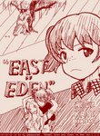 3girls abazu-red alisa_(girls_und_panzer) alternate_costume breasts closed_eyes english freckles girls_und_panzer hug hug_from_behind kay_(girls_und_panzer) large_breasts monochrome multiple_girls naomi_(girls_und_panzer) short_hair short_twintails tegaki tegaki_draw_and_tweet twintails