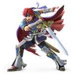 1boy absurdres armor blue_armor blue_eyes cape fire_emblem fire_emblem:_fuuin_no_tsurugi full_body gloves headband highres male_focus official_art red_hair reverse_grip roy_(fire_emblem) short_hair solo super_smash_bros. super_smash_bros_ultimate transparent_background weapon