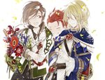 3boys aglovale_(granblue_fantasy) blonde_hair blush brothers brown_hair child closed_eyes flower granblue_fantasy lamorak_(granblue_fantasy) long_hair looking_at_another male_focus multiple_boys percival_(granblue_fantasy) red_eyes red_hair siblings smile suou younger
