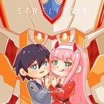 1boy 1girl bangs black_hair blue_eyes blush commentary couple darling_in_the_franxx eyebrows_visible_through_hair fringe green_eyes hair_ornament hairband hetero hiro_(darling_in_the_franxx) holding_hands horns lipstick long_hair long_sleeves looking_at_viewer makeup military military_uniform necktie oni_horns orange_neckwear pink_hair red_horns red_neckwear shiinashiroo short_hair signature strelizia uniform white_hairband zero_two_(darling_in_the_franxx)