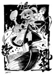 1girl ankle_boots ankle_ribbon bare_legs black_footwear blackcat_(pixiv) boat boots buddha commentary_request cross-laced_clothes dated dilated_pupils dot_nose english_text fire gas_can gasoline greyscale hair_between_eyes hat holding holding_plate japanese_clothes kariginu looking_at_viewer monochrome mononobe_no_futo open_mouth outstretched_hand plate pom_pom_(clothes) ribbon short_hair sleeve_ribbon smile smoke statue tate_eboshi touhou v-shaped_eyebrows watercraft white_hair wide_sleeves