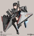 1girl artist_name blue_eyes brown_hair character_name defiant_(star_wars) full_body grey_background gun hat highres mecha_musume open_mouth personification solo star_wars teeth thighhighs vectorek weapon