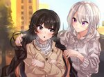 2girls bangs black_hair blue_eyes blush cardigan city closed_mouth coat commentary crossed_arms day frilled_shirt_collar frills hair_ornament hairclip highres higuchi_kaede hood hoodie jewelry long_hair looking_at_another mole mole_under_eye multiple_girls necklace nijisanji outdoors purple_eyes round_teeth silver_hair smile tdnd-96 teeth tree tsukino_mito very_long_hair virtual_youtuber yuri