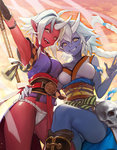 2girls arm_up armpits asymmetrical_docking bad_id blue_oni blue_skin boots braid breast_press breasts ddongu fundoshi grin highres horn hug long_hair multiple_girls no_pants oni original pointy_ears red_oni red_skin short_hair skull smile staff very_long_hair weapon white_hair yellow_eyes