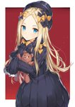 1girl abigail_williams_(fate/grand_order) bad_id bad_pixiv_id bangs black_bow black_dress black_hat blonde_hair blue_eyes bow bug butterfly closed_mouth commentary_request dress eyebrows_visible_through_hair fate/grand_order fate_(series) forehead hair_bow hat highres insect long_hair long_sleeves looking_at_viewer object_hug orange_bow parted_bangs red_background rikoma sleeves_past_fingers sleeves_past_wrists solo stuffed_animal stuffed_toy teddy_bear two-tone_background very_long_hair white_background