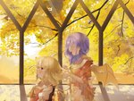 2girls alternate_costume autumn autumn_leaves bat_wings behind_another blonde_hair blurry brooch chair closed_eyes commentary_request cravat day depth_of_field dress expressionless flandre_scarlet from_side hairdressing highres holding holding_hair indoors jewelry lavender_hair layered_dress leaf long_sleeves looking_to_the_side maple_leaf medium_hair multiple_girls omodaka_romu open_mouth profile puffy_short_sleeves puffy_sleeves red_eyes red_vest remilia_scarlet shadow shawl shirt short_hair short_sleeves siblings sisters sitting standing touhou tree vest white_shirt window wings yellow_neckwear