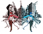 2boys akaito bad_id bad_pixiv_id blue_eyes blue_hair blue_scarf chao kaito male_focus multiple_boys red_eyes red_hair red_scarf ruins saihate_(vocaloid) scarf smile vocaloid