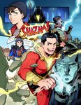 2019 aqua_eyes billy_batson brown_hair building cape closed_eyes commentary_request dc_comics doctor_sivana electricity fingerless_gloves freddy_freeman gloves green_eyes grin heterochromia highres jacket muscle notebook open_mouth scar scar_across_eye sen_(sen69) shazam shazam_(movie) shoes signature smile sneakers staff superhero sweater video_camera white_hair