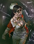 1girl barbed_wire black-framed_eyewear black_eyes black_hair black_sclera breasts cleavage creepy grobi-grafik hat lips long_hair medium_breasts nose nurse nurse_cap open_mouth pain screaming solo tatiana_gutierrez the_evil_within