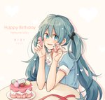 1girl 2018 black_bow blue_eyes blue_hair blue_shirt blush bow cake character_name cheng_(job276) dated eyebrows_visible_through_hair food grey_background hair_between_eyes hair_bow happy_birthday hatsune_miku holding long_hair open_mouth polka_dot polka_dot_bow red_ribbon ribbon sailor_collar shiny shiny_hair shirt short_sleeves simple_background sitting solo twintails upper_body very_long_hair vocaloid white_sailor_collar