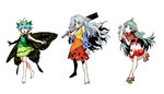 3girls :3 antennae aqua_hair bare_shoulders barefoot blouse blue_eyes blush breasts butterfly_wings cleaver curly_hair detached_sleeves eternity_larva full_body geta grey_hair hair_ornament hidden_star_in_four_seasons highres horn kariyushi_shirt komano_aun leaf_hair_ornament long_hair looking_at_viewer medium_breasts multiple_girls open_mouth outstretched_arms over_shoulder paw_pose pink_eyes pointy_ears red_eyes sakata_nemuno seeker shirt short_hair shorts simple_background sketch skirt smile standing touhou weapon weapon_over_shoulder white_background wings