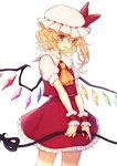 1girl ascot bangs blonde_hair bow commentary cowboy_shot crystal flandre_scarlet frilled_shirt_collar frills hair_between_eyes hat hat_bow highres holding honotai laevatein long_hair looking_at_viewer miniskirt mob_cap one_side_up parted_lips petticoat pointy_ears puffy_short_sleeves puffy_sleeves red_bow red_eyes red_skirt red_vest shirt short_sleeves simple_background skirt skirt_set smile solo standing touhou vest white_background white_headwear white_shirt wings wrist_cuffs yellow_neckwear