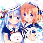 2girls :d anchor_symbol angora_rabbit animal bangs beret blue_bow blue_dress blue_eyes blue_flower blue_hair blue_sailor_collar blush bow bowtie brown_hair bug bunny butterfly commentary_request dress eyebrows_visible_through_hair flower gochuumon_wa_usagi_desu_ka? hair_between_eyes hair_bow hat hoto_cocoa insect kafuu_chino long_hair multiple_girls open_mouth outstretched_arm parted_lips puffy_short_sleeves puffy_sleeves purple_eyes red_bow red_neckwear rikatan sailor_collar sailor_hat short_sleeves smile striped striped_bow tippy_(gochiusa) v white_dress white_headwear white_sailor_collar