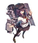1girl ;) aa_gun akatsuki_(kantai_collection) anchor anchor_symbol beize_(garbage) black_legwear blue_eyes blush brown_legwear cannon flat_cap from_above full_body hair_between_eyes hat index_finger_raised kantai_collection loafers long_hair looking_at_viewer machinery neckerchief one_eye_closed pantyhose purple_hair red_neckwear remodel_(kantai_collection) rigging school_uniform serafuku shield shoes simple_background smile smokestack solo torpedo torpedo_launcher turret white_background
