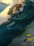 1boy 1girl bed casual commander_shepard_(female) couple garrus_vakarian hug interspecies lips mass_effect mass_effect_2 mass_effect_3 on_bed pillow red_hair scar short_hair sleeping sleeping_on_person turian wei