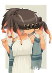 1girl beige_background bracelet_removed brown_hair dress evolvingmonkey extra_eyes hair_over_eyes hands_up highres insect_girl long_dress long_hair looking_down off_shoulder original ponytail shawl simple_background solo spider_girl spider_itou tan tanline upper_body white_dress