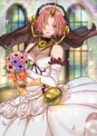 1girl :d azaka_(rionrita) blue_eyes blush bouquet bridal_veil detached_sleeves dress eyebrows_visible_through_hair fate/apocrypha fate_(series) flower frankenstein's_monster_(fate) hair_flower hair_ornament head_wreath heterochromia highres holding holding_bouquet horn long_sleeves looking_at_viewer open_mouth petals pink_hair purple_flower red_flower ribbon short_hair sleeveless sleeveless_dress smile solo veil wedding_dress white_dress white_flower white_sleeves yellow_eyes yellow_ribbon