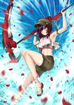 1girl adsouto alternate_costume armpits arms_up bangs black_hair blue_eyes blush brown_hat brown_shorts gradient_hair hat highres holding holding_weapon leg_up midriff multicolored_hair navel petals red_hair rose_petals ruby_rose rwby scythe shorts smile solo stomach two-tone_hair weapon