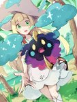 1girl bag beach blank_eyes blonde_hair blue_sky chestnut_mouth cosmog day dress duffel_bag dutch_angle gen_7_pokemon grass green_eyes hat highres horizon kneehighs lillie_(pokemon) long_hair looking_at_viewer ocean open_mouth outdoors outstretched_arm palm_tree palms poke_ball_theme pokemon pokemon_(creature) pokemon_(game) pokemon_sm sand sketch sky standing sun_hat takase_(takase1214) teeth tree very_long_hair water white_dress white_hat white_legwear yellow_eyes