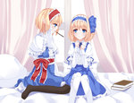 2girls alice_margatroid alice_margatroid_(pc-98) bed bed_sheet black_legwear blonde_hair blouse blue_eyes book bow capelet curtains dress dual_persona hair_bow hair_ribbon hairband long_sleeves multiple_girls nanatuki13 pantyhose pillow pocky pocky_kiss ribbon shared_food short_hair short_sleeves skirt smile suspenders time_paradox touhou touhou_(pc-98) white_legwear window