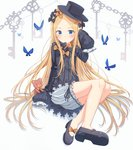 1girl abigail_williams_(fate/grand_order) absurdres animal bangs black_bow black_dress black_footwear black_headwear blonde_hair bloomers blue_eyes blush bow bug butterfly chain closed_mouth commentary_request dress fate/grand_order fate_(series) forehead hair_bow hand_up hat highres insect key long_hair long_sleeves looking_at_viewer mary_janes orange_bow parted_bangs polka_dot polka_dot_bow revision shoes sitting sleeves_past_fingers sleeves_past_wrists solo stuffed_animal stuffed_toy teddy_bear underwear very_long_hair white_bloomers xue_lu