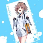 1girl bag black_swimsuit blue_background brown_eyes brown_hair character_name commentary_request cowboy_shot drawstring headgear headset hood hooded_jacket hoodie jacket kantai_collection na-code_(gurich) name_tag open_mouth round_teeth school_swimsuit short_hair smile solo speaking_tube_headset swimsuit teeth torpedo two-tone_background upper_teeth white_jacket yukikaze_(kantai_collection)