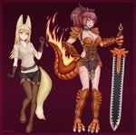 2girls abs absurdres animal_ears armor artist_name belt blonde_hair blush breasts commentary commission dark_skin elbow_gloves eyebrows_visible_through_hair facial_scar fanny_pack fiery_tail fire fox_ears fox_girl fox_tail full_body gloves grin hair_ribbon hands_on_hips head_fins highres holding holding_sword holding_weapon inari_(monster_girl_encyclopedia) jewelry large_breasts lizard_girl lizard_tail long_hair medium_breasts monster_girl monster_girl_encyclopedia multiple_girls parted_lips ponytail ribbon salamander_(monster_girl_encyclopedia) scales scar shirt simple_background smile sword tail weapon wlper