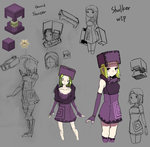 1girl at2. black_eyes blonde_hair commentary_request concept_art dress elbow_gloves fingerless_gloves gloves hat kneehighs minecraft personification purple_dress purple_legwear short_hair shulker sketch solo tagme work_in_progress