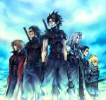 5boys angeal_hewley aqua_background arms_at_sides bangs belt black_gloves black_hair black_neckwear black_pants black_shirt blonde_hair blue_sky bracer brown_hair clenched_hands closed_mouth cloud_strife coat crisis_core_final_fantasy_vii facial_hair feet_out_of_frame final_fantasy final_fantasy_vii frown genesis_rhapsodos gloves hair_slicked_back holding holding_sword holding_weapon long_hair long_sleeves looking_away male_focus matching_outfit multiple_belts multiple_boys necktie nomura_tetsuya official_art open_clothes open_coat pants parted_lips pauldrons profile red_coat scarf sephiroth shirt shirtless short_sleeves silver_hair sky sleeveless sleeveless_turtleneck smile standing stubble sword tseng turtleneck weapon weapon_on_back zack_fair