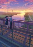 1boy 1girl black_hair bridge building city cityscape cloud cloudy_sky expressionless facing_away floating_hair hand_in_hair hand_on_railing hiko_(scape) lake landscape loafers long_hair looking_away original outdoors pink_sky profile purple_sky railing road scenery school_uniform shadow shirt shoes short_hair skirt skirt_lift sky socks standing sun sunlight sunset transmission_tower tree white_legwear white_shirt wide_shot