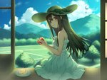 1girl apple apple_slice blue_sky brown_eyes brown_hair cloud copyright_request day dress food fruit grass hand_up hat hat_ribbon hill holding holding_fruit long_hair looking_at_viewer mimikaki official_art pokachu ribbon sitting sky smile solo sun_hat tree white_dress wind_chime