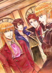 1girl 3boys anchor androgynous beatrice blonde_hair blue_eyes brown_hair cape choker coat cravat dutch_angle grey_eyes kaoru multiple_boys necktie ponytail red_hair smile sweat umineko_no_naku_koro_ni ushiromiya_battler ushiromiya_lion willard_h_wright yellow_eyes